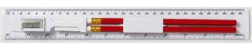 Règles/Cutch - Règle 30 cm avec 2 crayons, une gomme et un taille-crayon - Albury - Pandacola