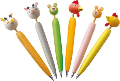 Stylos à bille - Lot de 24 stylos bille avec embout ressort têtes d'animaux - Drobak - Pandacola