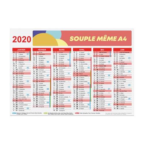 Calendrier bancaire - Calendrier bancaire publicitaire 2020 recto/verso souple A4 - Altha - Pandacola