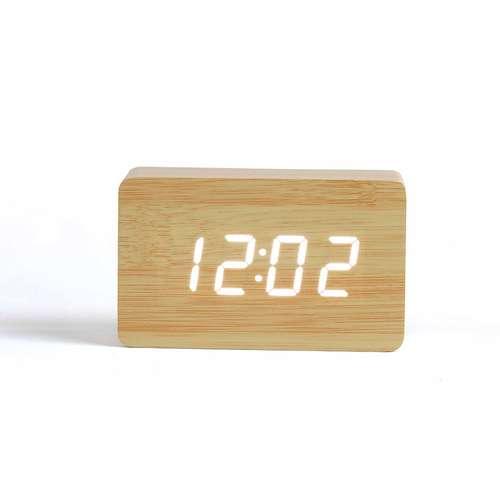 Horloges de bureau - Horloge digitale aspect bois publicitaire| Livoo - Pandacola
