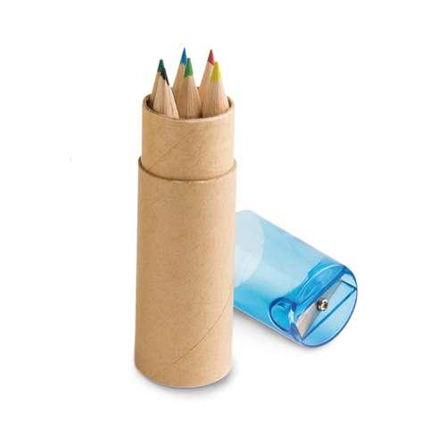 Crayons de couleur - Boîte de 6 crayons de couleur publicitaire avec taille crayon - Andorre - Pandacola