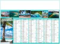 Calendrier bancaire personnalisable thématique - AGC55 Iles de Paradis - Pandacola