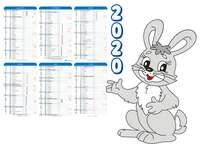 Calendrier semestriel découpé et contrecollé sur carton - AGC55 Bunny - Pandacola
