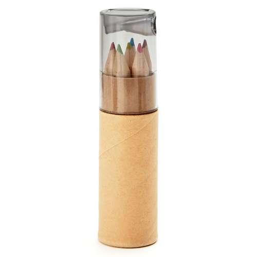 Crayons de couleur - Tube en carton publicitaire de 6 crayons de couleur - Petit Lambut - Pandacola