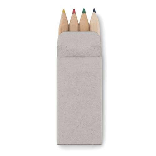Crayons de couleur - Set publicitaire de 4 mini crayons de couleur - Petit Abigail - Pandacola