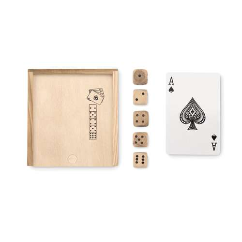 Jeux de 32 cartes - Boîte en bois personnalisée avec jeu de cartes et 5 dés - Las Vegas - Pandacola
