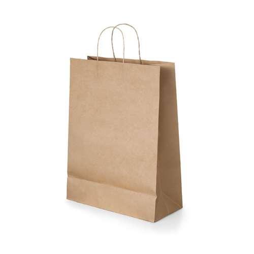 Sacs shopping - Sac publicitaire en papier kraft 115 gr/m² avec poignées 18 x 24 x 8 cm - Saro - Pandacola