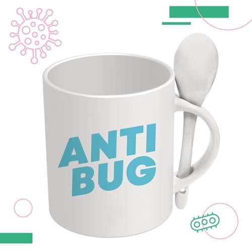 Mugs - Mug blanc avec cuillère Anti-Bactériens/Microbes 285 ml - Spoon Antibug - Pandacola