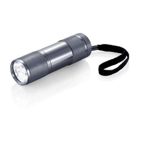 Lampes de poche/lampes torches - Lampe torche publicitaire aluminium 9 Leds blanches - Quattro - Pandacola