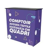 Comptoir d'accueil rectangulaire 102x106x36 cm avec visuel textile - Geko - Pandacola