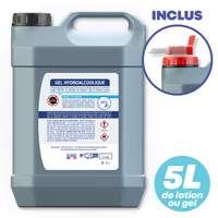 Bidon de 5L de lotion ou gel hydroalcoolique non personnalisable avec robinet - Pandacola