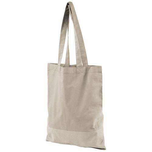 Sacs shopping - Sac shopping coton publicitaire avec rayure argentée 140 g/m² - Aylin - Pandacola