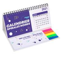 Calendrier à spirales noires promotionnel avec notes adhésives repositionnables - Pandacola