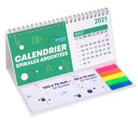 Calendrier à spirales argentés promotionnel avec notes adhésives repositionnables - Pandacola