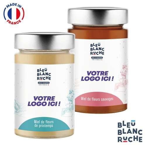 Pots de miel - Assortiment de pots de 250g de miel polyfloral   Bleu Blanc Ruche - Pandacola