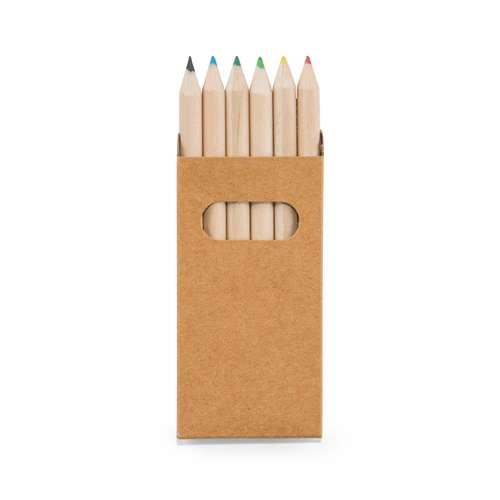 Crayons de couleur - Boîte de 6 crayons de couleur publicitaire - Lab - Pandacola