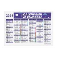 Calendrier 2021 rembordé personnalisé r/v A3 en carton rigide - Reyo - Pandacola