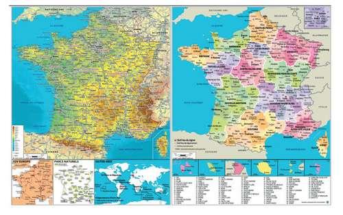Calendrier bancaire - Calendrier bancaire avec carte France tourisme 65 x 40.5 cm | Standard - Pandacola