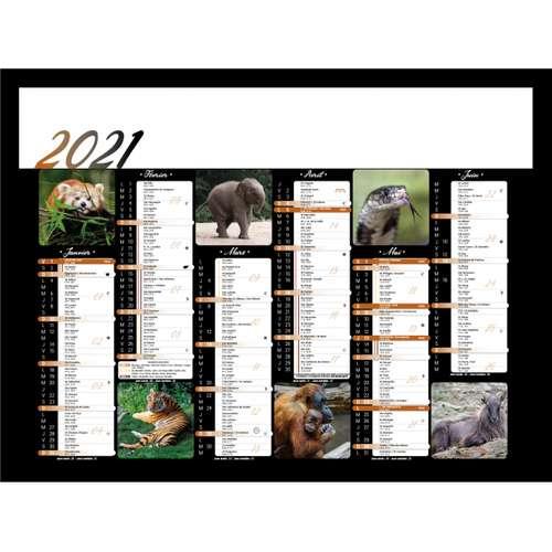 Calendrier bancaire - Calendrier bancaire personnalisable 43 x 37.5 cm | Animaux sauvages - Pandacola