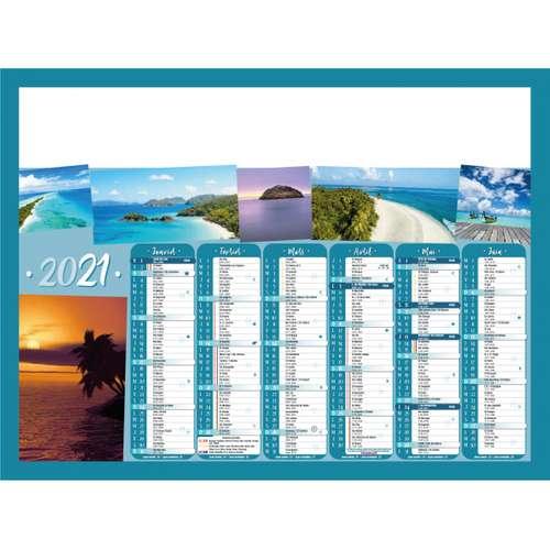 Calendrier bancaire - Calendrier bancaire personnalisable 55 x 40.5 cm | Ile de paradis - Pandacola