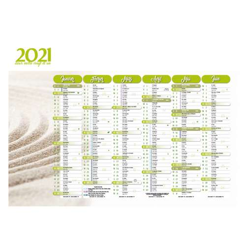 Calendrier bancaire - Calendrier bancaire personnalisable 55 x 40.5 cm | Zen - Pandacola