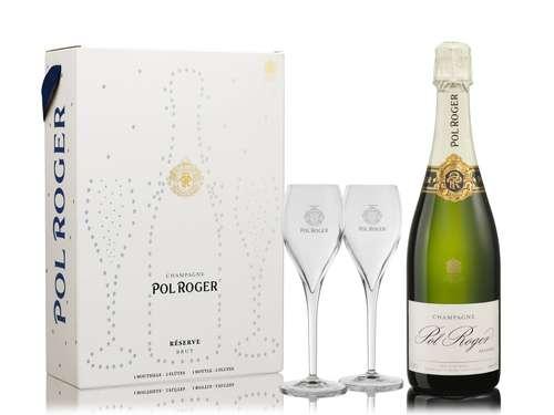 Bouteilles de champagne - Coffret Champagne & flûtes Pol Roger Réserve - Pandacola