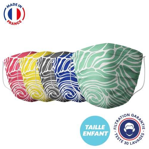 Masques de protection - UNS1 30 lavages - Masque enfant motif vague   Barral - Pandacola