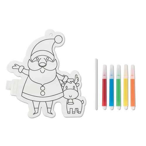 Autres décorations de Noël - Ballon à colorier publicitaire père noël avec marqueurs - Santa Colo - Pandacola