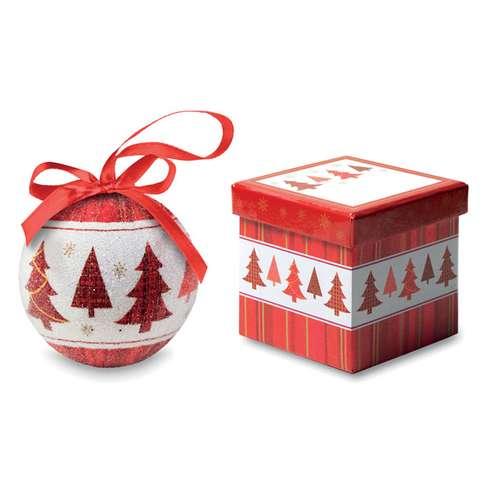Boules de Noël - Boule de noël publicitaire sapin perlée avec boîte cadeau - Bolicad - Pandacola