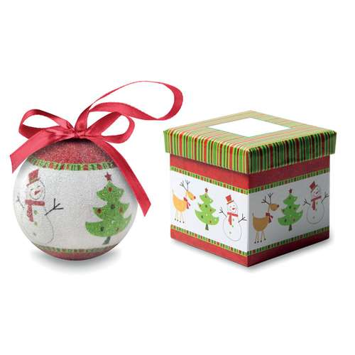 Boules de Noël - Boule de noël publicitaire bonhomme de neige perlée avec boîte cadeau - Boliperle - Pandacola