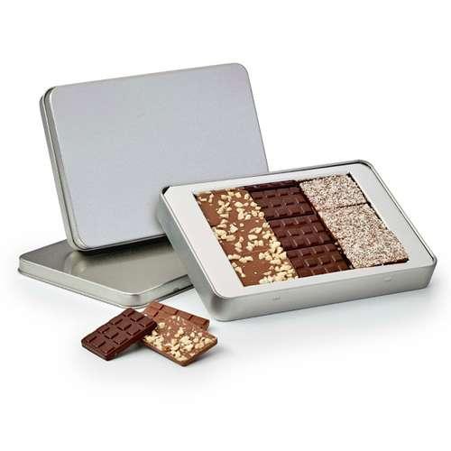 Boîtes de chocolat - Boîte de chocolat 120g personnalisable en métal - Pandacola