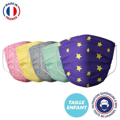Masques de protection - UNS1 30 lavages enfant made in France - Masque grand public à filtration garantie supérieure à 95% - A motifs |Barral - Pandacola