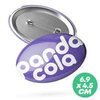 Badge publicitaire ovale 6,9x4,5 cm - Mino - Pandacola