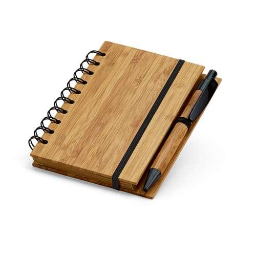 Bloc-notes - Bloc-notes et stylo à bille en bambou publicitaires - Leaf - Pandacola