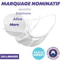 UNS1 120 lavages enfant nominatif - Masque grand public à filtration garantie supérieure à 91% blanc - Pandacola