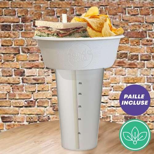 Assiettes creuses - Coupelle personnalisable pour manger d'une seule main écologique avec paille - Pandacola