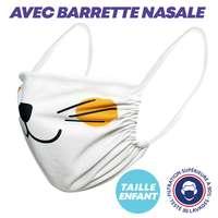 UNS1 Enfant 30 lavages - Masque grand public élastiques blancs ou noirs barrette nasale à filtration supérieure à 94% marquage inclus - Xico Enfant - Pandacola