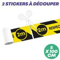 """Sticker de sol """"respectez la distance de sécurité"""" à découper 100x5 cm - Andy - Pandacola"""