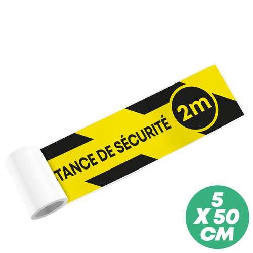 """Stickers pour le sol - Sticker de sol """"respectez la distance de sécurité"""" 50x5 cm sans personnalisation - Nancy - Pandacola"""