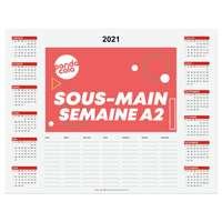 Sous main calendrier publicitaire 2021 avec semainier en papier A2 - Sem - Pandacola