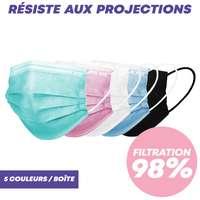 Masque chirurgical type IIR de couleur - 98% de filtration bactérienne - Pandacola