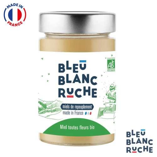 Pots de miel - Pot de 250g de miel toutes fleurs biologique   Bleu Blanc Ruche - Pandacola