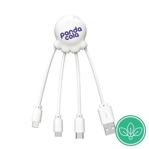 Chargeurs secteur usb - Chargeur multi cable publicitaire Eco friendly de couleur - Octopus Eco | Xoopar - Pandacola