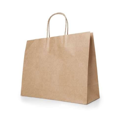 Sacs shopping - Sac publicitaire en papier kraft 115 gr/m² avec poignées 40 x 34 x 11 cm - Katy - Pandacola