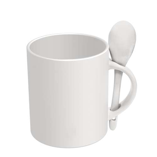 Mugs - Mug publicitaire blanc avec cuillère 285 ml - Spoon - Pandacola