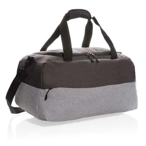 Sacs de voyage/sport - Sac de voyage publicitaire bicolore recyclé avec poche anti-RFID - Scalea - Pandacola