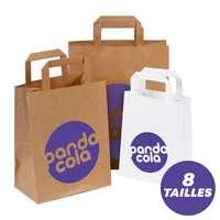 Impression Numérique - Sacs publicitaires en papier kraft personnalisables poignées plates - Pandacola