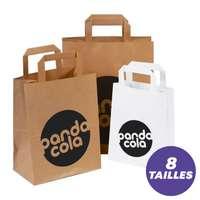 Sérigraphie - Sacs publicitaires en papier kraft personnalisables poignées plates - Pandacola