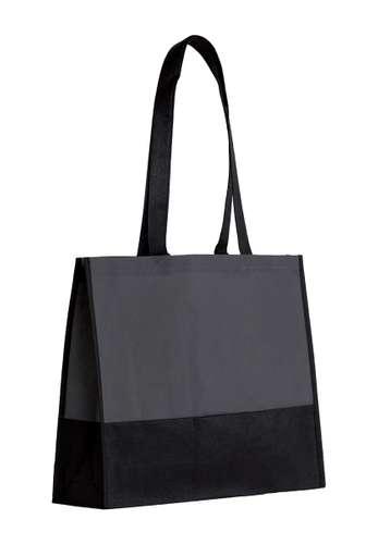 Sacs shopping - Sac shopping personnalisable bi-couleur noir non tissé  80 gr/m² - Tel-Aviv - Pandacola