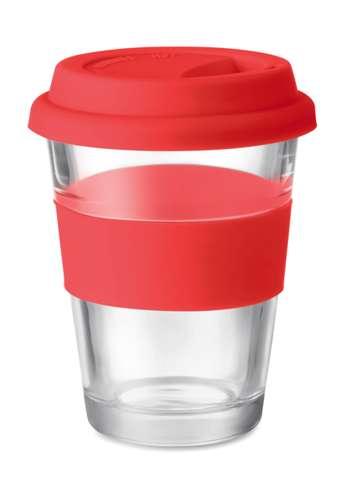 Mugs - Gobelet en verre personnalisé avec couvercle et bande silicone - Astor - Pandacola